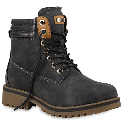 Damen Stiefeletten Worker Boots Warm Gefütterte Outdoor Schuhe 153728 Grau Cabanas 39 Flandell