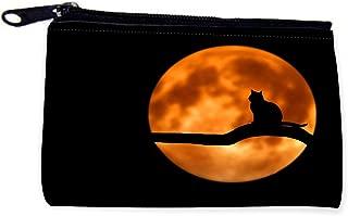 Black Cat Silhouette on Orange Sun Zipper Coin Pouch - Coin Purse - Camera Case - MP3 Case