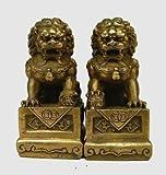YUNHAO Chinese Brass Folk Fengshui Foo Fu Dog Guardion Door Lion...