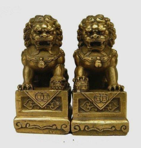 Chinesische Messing Fengshui Folk Foo Fu Hund guardion Tür Löwe Statue Paar