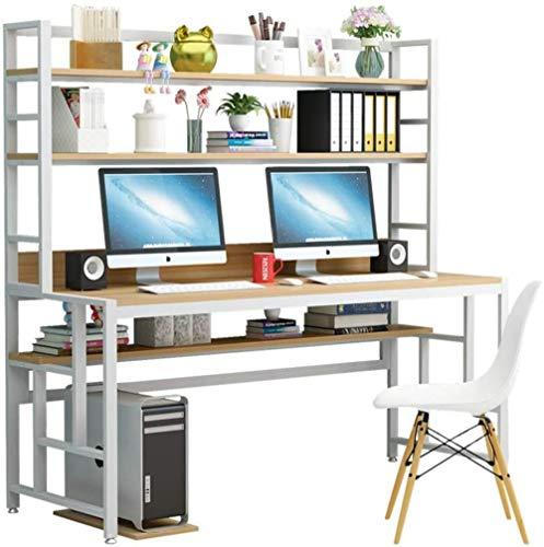 REWD Escritorio para computadora con estantes de Almacenamiento Torre Computadora Mesa PC Portátil Compacto Estudiar Escritura Estación de Trabajo 80x60x164cm
