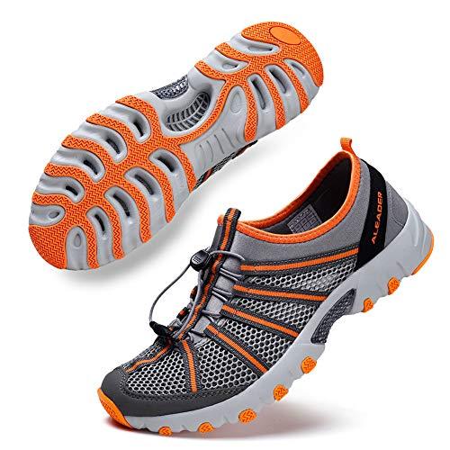 ALEADER Water Hiking Shoes for Men, Outdoor, Camp, Kayaking, Wet/River Walking Sneakers Gray/Orange 9.5 D(M) US