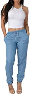 Hivot Skinny Pants for Women Elastic Waist Casual Pants High Waist Jeans Casual Blue Denim Pants Pencil Trousers