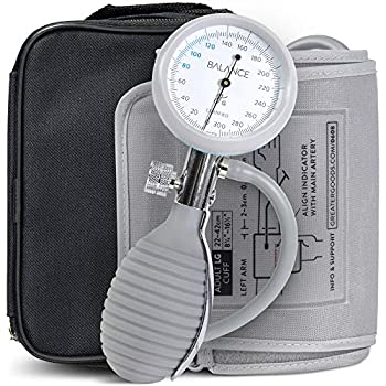Greater Goods Sphygmomanometer Manual Blood Pressure Monitor Kit Includes Travel Case Bulb Cuff for Upper Arm Clinical Accuracy
