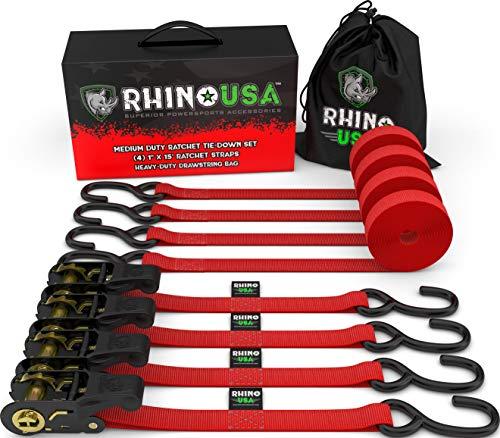 RHINO USA Ratchet Tie Down Straps (4PK) - 1,823lb Guaranteed Max...