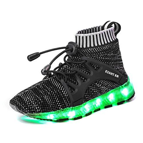 EIGHT KM EKM7016 Niños y Niñas Light Up Zapatos con Carga USB LED 7 Colores de Luces Zapatillas Negro 32