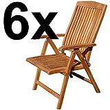 ASS Teak Design Hochlehner Gartensessel Gartenstuhl Sessel Holzsessel Klappsessel Gartenmöbel Holz sehr robust 7fach-verstellbar Modell: JAV-Tobago, Größe:6 Stück