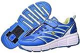 Knoijijuo Kinderschuhe mit Rollen Skateboardschuhe Outdoor Sportschuhe Skateboardschuhe 1 Rädern Gymnastik Sneaker für Junge Mädchen,Blau,EU34