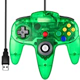 [USB Version] Classic N64 Controller, SAFFUN N64 Wired USB PC Game pad Joystick, N64 Bit USB Wired Game Stick for Windows PC MAC Linux Genesis Raspberry Pi Retropie Emulator [Plug & Play] (Green)