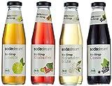 Sodastream 4er Packung Bio - Fruchtsirupe mit Cassis, Holunderblüte, Limette, Rhabarber, 1er Pack (4 x 500 ml)