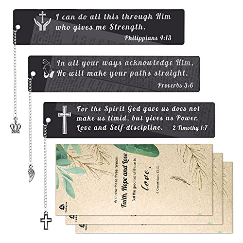 Inspirational Metal Bookmarks with black mirror-like finish, 3 Pcs Bible Verses Bookmarks, Religious Book Markers for Book Lover, Christian Bookmark gift for Graduation Baptism Bible Study Reward Xmas