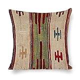 Funda de almohada de lino blanco, diseño de estrella del siglo XVII, colorido apagado, funda de almohada cuadrada, fundas de cojín para sala de estar, sofá, cama, fundas de almohada de 45 x 45 cm