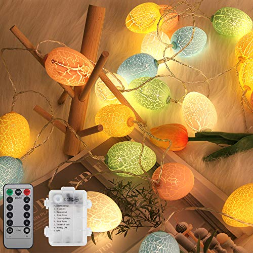 C APPOK 15Ft 30 LEDs Easter Decorations Egg String Lights with Remote, Egg LED String Lights with Timer, Waterproof Battery Operated Fairy String Light for Easter Decor, Outdoor, Home, Party