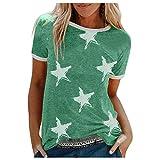 BOLUOBAO Camiseta para Mujer Camiseta Holgada con Cuello en O de Manga Corta y Estampado de Diente de león Casual de Talla Grande para Mujer 20210311