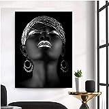 Diy plata mujer africana pintura de diamante completo rhinestone redondo diamante bordado dama retrato mosaico imagen sin marco-20X25cm