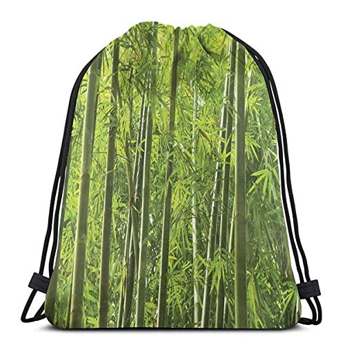 Foresta di bambù tropicale esotica con stampa di alberi selvatici e foglie di colore fresco asiatico, chiusura regolabile stringa stampato coulisse zaini borse