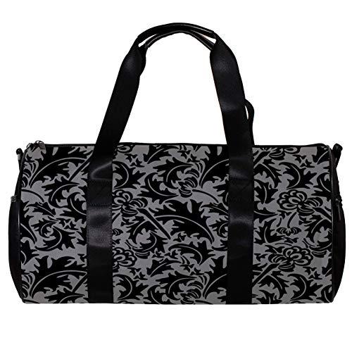 Runde Sporttasche mit abnehmbarem Schultergurt, silberner und schwarzer Hintergrund, Spirale, Blätter, Blumen, Pflanzen, Training, Handtasche, für Damen und Herren