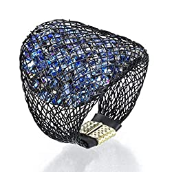 Swarovski Crystal Statement Ring With Mesh