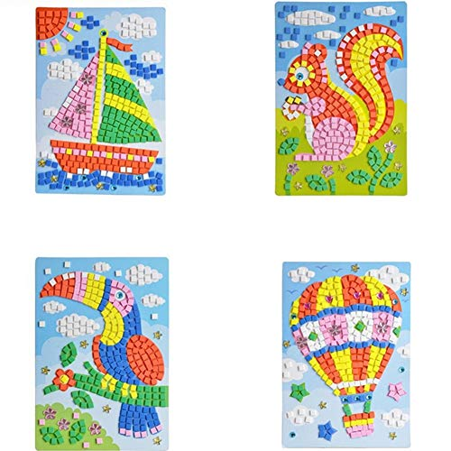 Mosaik-Aufkleber, selbstklebend, handgefertigt, Kunst-Kits für Kinder, Puzzle-Aufkleber, pädagogisches Spielzeug, Segelboot, Eichhörnchen, Specht, Heißluftballon-Muster (1 Set) HN0005A-5D