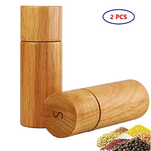 GooDoi Pfeffermühle Holz, Salzmühle holz, Manuelle Salzmühle mit einstellbarer Keramikmahlwerk Gewürzmühle (2 Stücke)