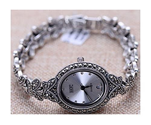 VIVIANSHOP Relojes de Plata esterlina de Las Mujeres, Accesorios de Moda Retro 925 Plata de Ley Cuadrada de chasis Blanca de chasis de la Pulsera Accesorios de Pulsera de joyer