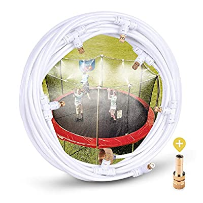 """HOMENOTE Misting Cooling System 26.3FT (8M) Misting Line + 8 Brass Mist Nozzles + a Metal Adapter(3/4"""") Outdoor Mister Patio Garden Greenhouse Trampoline for Water Park"""
