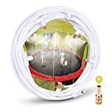 """HOMENOTE Misting Cooling System 59FT (18M) Misting Line + 16 Brass Mist Nozzles + a Metal Adapter(3/4"""") Outdoor Trampoline Sprinkler Mister Patio Garden Greenhouse for Waterpark"""