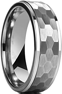 8mm Stainless Steel Hammered Hexagon Pattern Matte Brushed Simple Plain Wedding Band Ring
