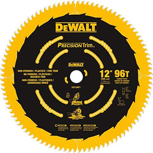DEWALT 12-Inch Miter Saw Blade, Precision Trim, ATB, Crosscutting, 1-Inch Arbor, 96 Tooth (DW7296PT)