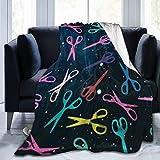 Leyhjai Fleece Throw Blanket Colorido Peluquería Mantas de Tijera Hogar Lindo Suave para Sofá Silla Cama Oficina Viajando Camping Niños Adultos Bebé Niño Perro Gato 50'x40
