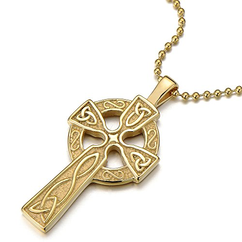 COOLSTEELANDBEYOND Stainless Steel Gold Color Mens Womens Celtic Cross Pendant Necklace with 23.6 in Ball Chain