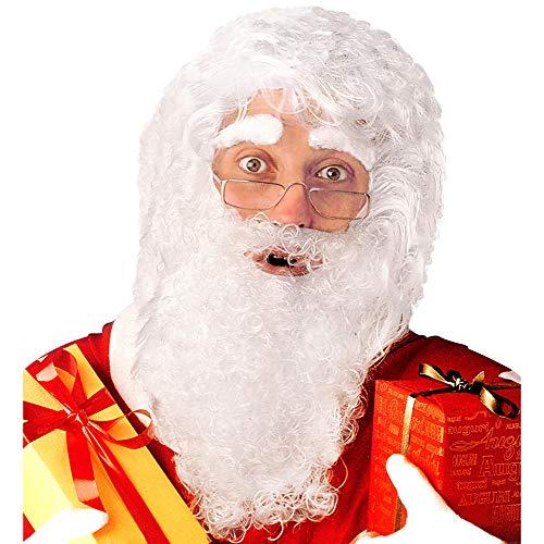 Widmann 1518S Weihnachtsmann Perücke mit Maxi Bart, Schnurrbart und Augenbrauen, weiß