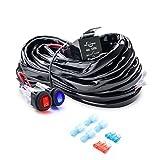 MICTUNING 180W Faisceau Electrique Faisceau de Câblage avec Relais 12V/40A, 2 Fusibles de Rechange et Dual Interrupteur à Bascule Etanche pour Barre à LED 16AWG (Câble de 3m)