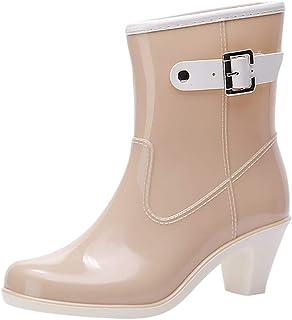 Riou Botas de Agua Mujer Lluvia Altas Zapato Impermeables Estilo Punk Botas Antideslizantes Hebilla Lateral Zapatos de Agu...