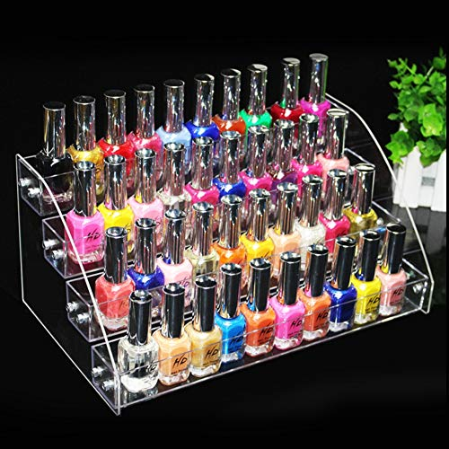 Présentoir à vernis à ongles, organiseur de vernis à ongles, durable, acrylique transparent, présentoir de maquillage à deux étages (4 couches)