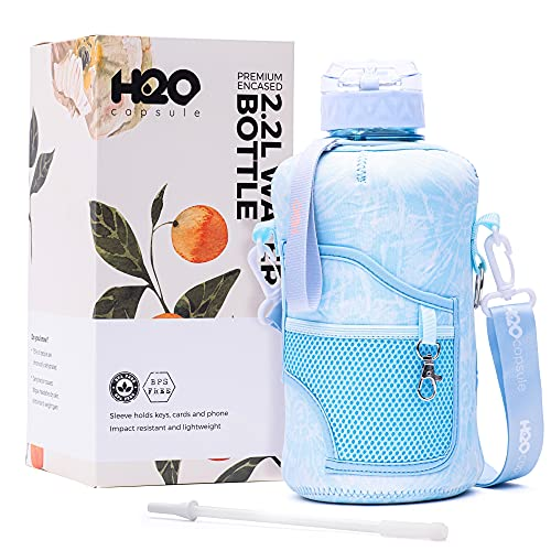 H2O Capsule 2.2L Half Gallon Water Bottle with Storage Sleeve and Removable Straw – BPA Free Large Reusable Drink Container with Handle - Big Sports Jug, 2.2 Liter (74 Ounce), Chill TieDye