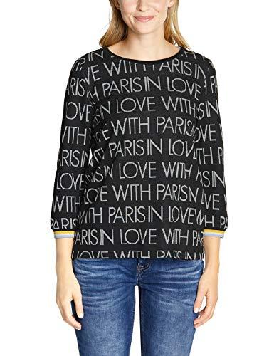 Street One Damen 313923 Babsi Sweatshirt, Mehrfarbig (Black 20001), (Herstellergröße:34)