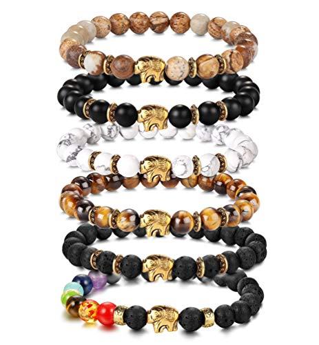 YADOCA 6 st 8 mm män pärlor armband set elefant berlock natursten lava sten tiger öga sten Howlite stretcharmband för män kvinnor