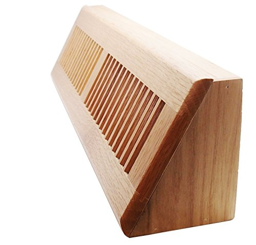 18' Wooden Floor Baseboard Register - Decorative Red Oak Wood Pre Finished Air Supply Vent - HVAC Vent Duct Cover