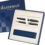 WATERMAN Schreibset EXPERT Schwarz G.C. mit persönlicher Laser-Gravur Füllfederhalter und Kugelschreiber im großen Geschenk-Etui