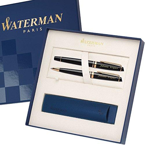 WATERMAN Schreibset EXPERT Schwarz G.C. mit Gravur Tintenroller und Kugelschreiber mit großem Geschenk-Etui