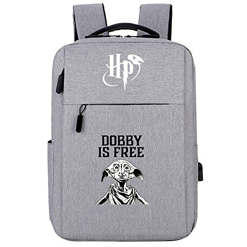 Friends Backpack, Dobby Help Harry,Potter Series Rucksack,Hogwarts Casual Laptop School Bag Gray
