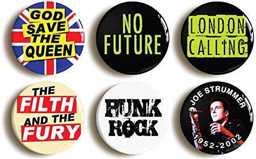 70s Punk Rock Button Badge Set, 6pcs