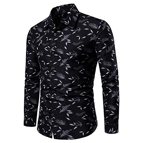 SALEBLOUSE 2020 Autumn and Winter New Mens Printed Dress Shirts Sale Button Down Trundown Collar Long Sleeve Formal Bussiness Shirts Casual Fashion Tops Blouses Sweatshirt Black