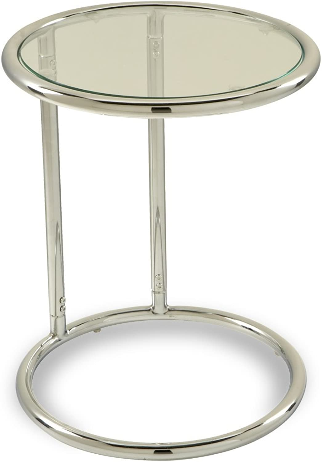 Avesix AVE SIX Yield Modern Round Table with Chromed Steel Base, Clear Glass Top
