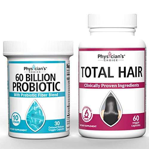 Probiotics 60 Billion CFU & Hair Growth Vitamins Bundle | Hair Growth Vitamins with Clinically Proven Ingredients) Award Winning Keratin, Biotin and More