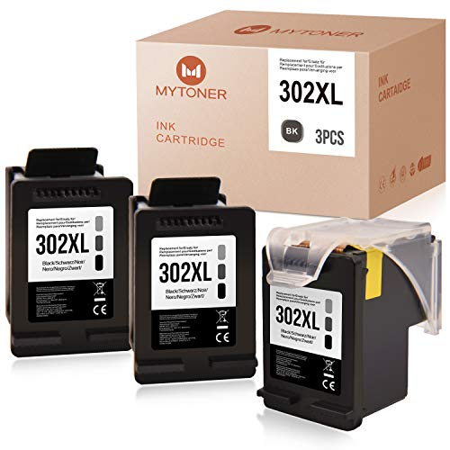 MYTONER Compatibile con cartucce d'inchiostro HP 302 XL 302XL per HP Officejet 3830 3831 3833 4650 4654 5230 Envy 4520 4525 4527 Deskjet 1110 3630 3636 3636 stampante (3 x nero)