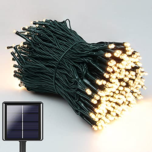 Super-Long 105FT 300 LED Solar StringLights Outdoor,Waterproof Solar Lights Outdoor Decorative with 8 Lighting Modes, Green Wire Solar Tree Lights for Patio, Garden, Party, Christmas (WarmWhite)