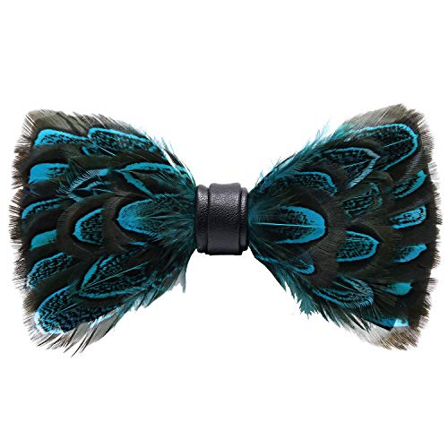 Mumusung Men's Peacock Feather Bowtie (Teal Feathers)