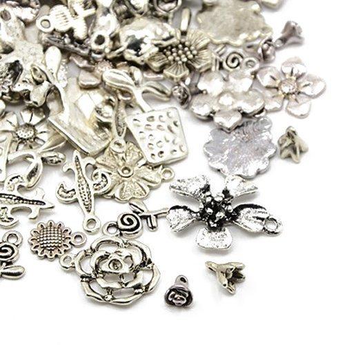 30 Gramm Antik Silber Tibetanische ZufälligeMischung Charms (Blume) - (HA07045) - Charming Beads
